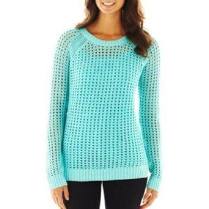 A.N.A. Blue Radiance Pointelle Openwork Sweater